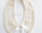 Sale Sale Sale Romantic bridal ivory/cream/beige collar necklace, wedding collar, detachable collar - MYadoria