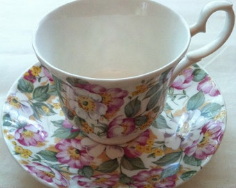 Vintage Roy Kirkham Teacup and Saucer, Collectible, Old English Pattern, Bone China, England