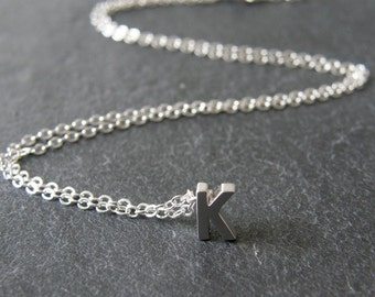 Tiny Initial Alphabet Letter K Necklace, Silver Initial Necklace, Personalized Necklace, Simple, Modern, Everyday, Friend Gift