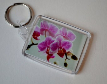 Pretty Pink Orchid Keyring