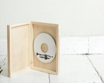 Single DVD case, wooden box, keepsake box, natural wood , wedding keepsake, dvd keepsake, cd case, cd box, dvd box