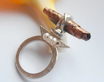 Combination copper silver ring , Unusual ring , Ring with Fresh Water Pearls ,