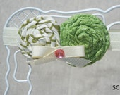 Girls Shabby Chic Baby Headband with Handmade Rolled Green Flowers by Santeen Creations
