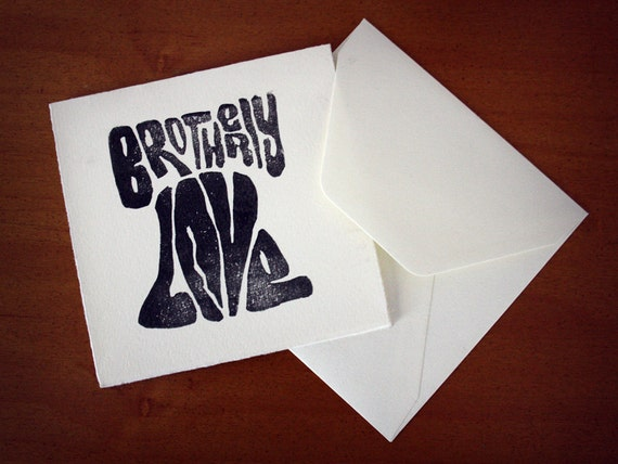 Brotherly Love hand stamped greeting card