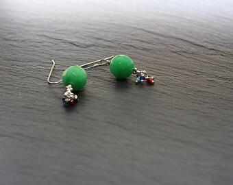 Green Jade Sterling Silver Earrings