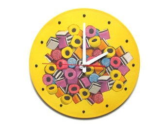 Unique wall clock modern wall clocks housewarming gift for mother kitchen wall clocks nursery wall clock decorative wall clocks yellow candy
