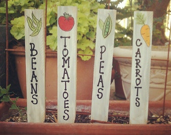 Garden Markers, Garden Stakes, Plant Markers, Plant Stakes, Vegetable Markers, Wood Garden Markers, Decorative Garden Stakes