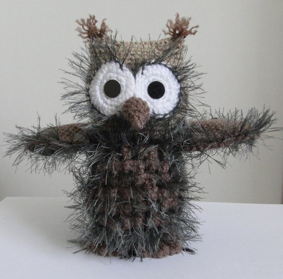 10% discount with coupon code OWL OOAK 7 inch Stuffed animals Soft toy Crochet Handmade Amigurumi. Made to order.