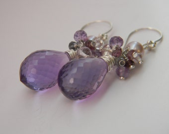 SALE. earrings. amethyst. spinel. freshwater pearl.