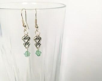 Blue Crystal & Silver Earrings