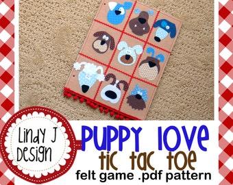 Puppy Love Tic Tac Toe Felt Game .PDF Pattern