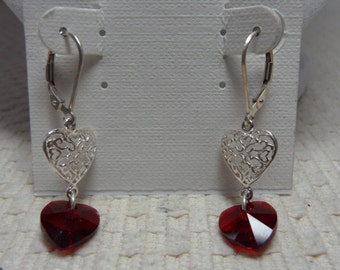 Sterling Silver Heart Earrings with Swarovski Red Crystal Heart Drops