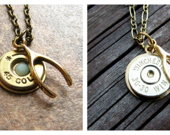 Lucky Shot Necklace- Wishbone- Bullet Necklace- Bullet Jewelry- Birthstone Necklace- Bullet Pendant- Eco Friendly- Ammo Casing Necklace