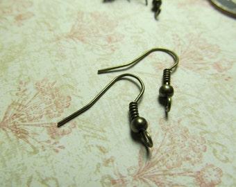 Antique Brass Fish Hook Earrings