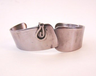 Sleek Metal Bracelet Cuff Made from Upcycled Stainless Steel