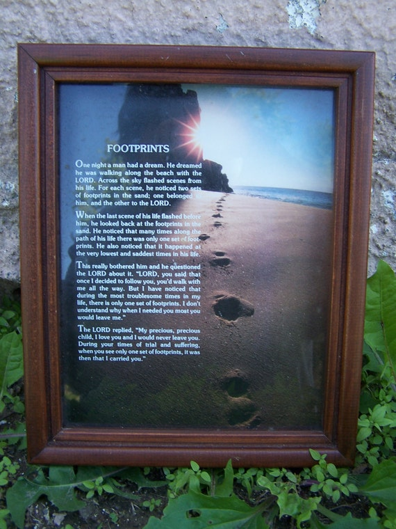 Items Similar To Footprints In The Sand Picture Framed
