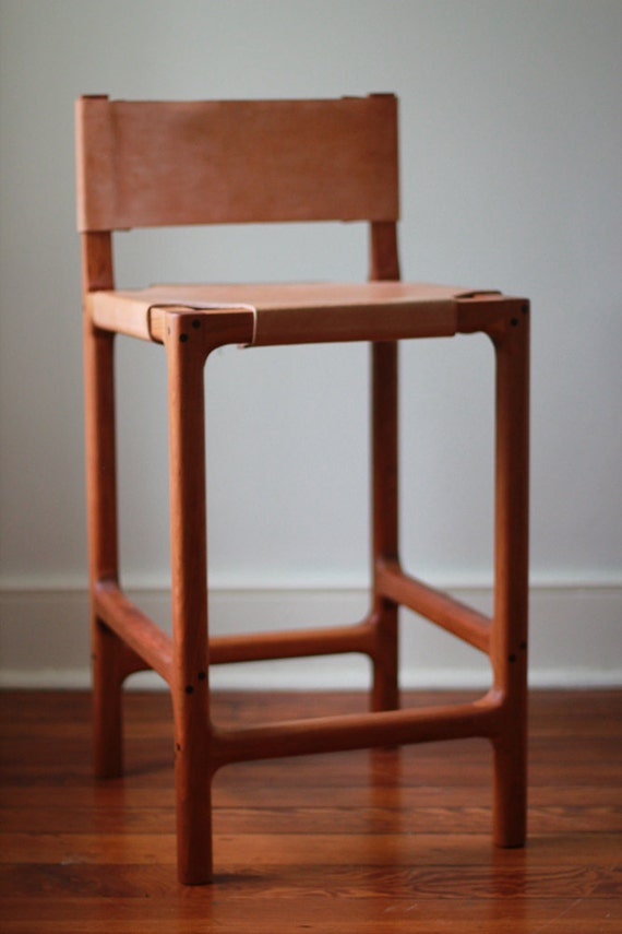 Cherry And Leather Counter Stool By Martellwoodworks On Etsy