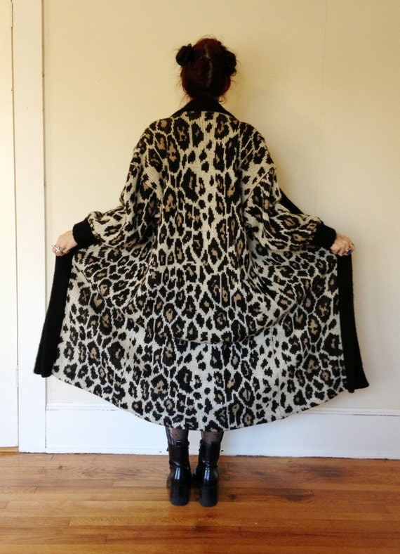 Floor Length Leopard Sweater Open Cardigan By Thecosmiccircle