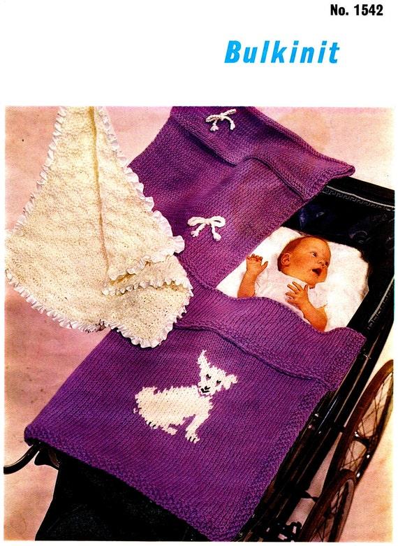Knitting Patterns For Baby Pram Blankets : Vintage Knitting Pattern PDF Baby Bulkiknit Pram by ...