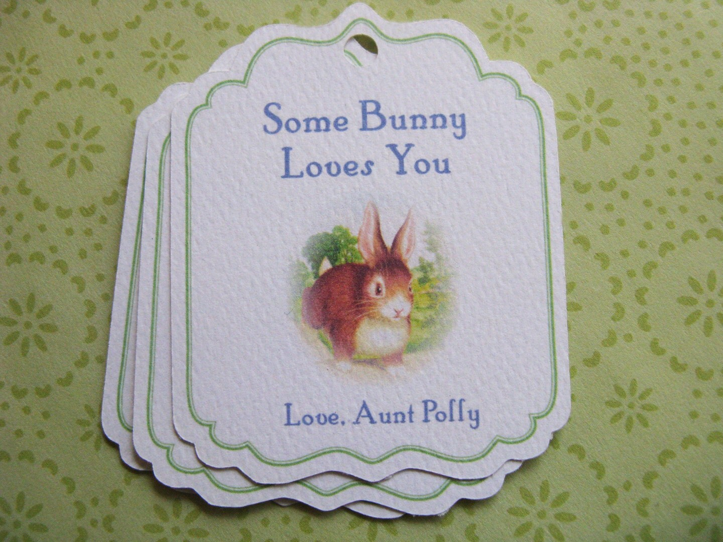 Personalized Easter Gift Tags Bunny Rabbit Hang Tag Favor