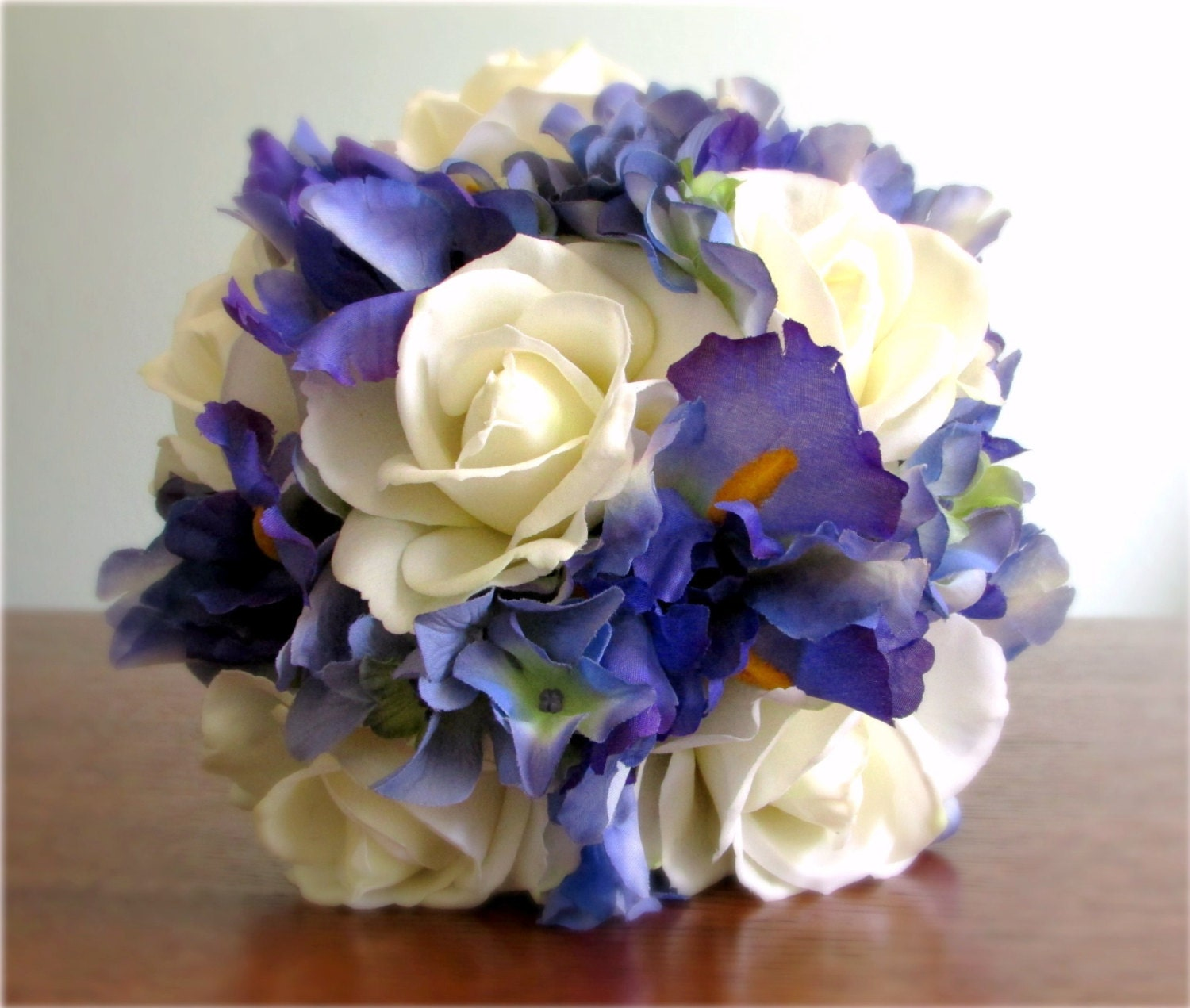 Ivory Blue Violet Wedding Bouquet Real Touch and by ...