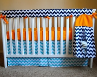 Diaper stacker in Navy Chevron and Orange