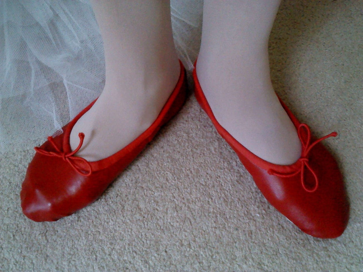 Red Leather Ballet Slippers Full Soles or Split Soles