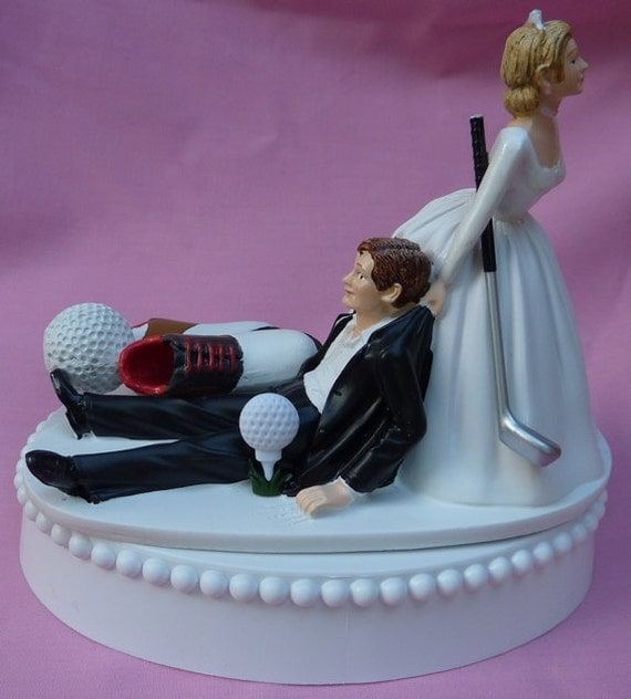 wedding cake toppers bride and groom golf wedding cake topper golf fan golfing groom golfer shoes 26410