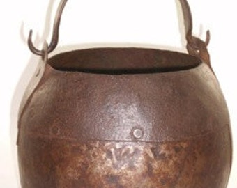Antique Black Smith made open fire cooking pot