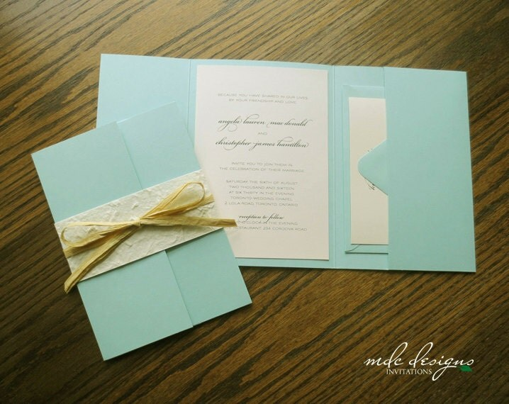 Ivory Wedding Invitation Kits: DIY Rustic Destination Pocketfold Invitation Kit