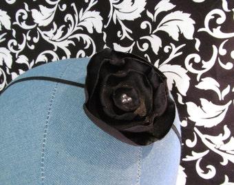 Black Satin Fabric Flower Headband