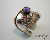 Sterling Silver Ring.. Adjustable Ring of sterling silver, brass, copper and semiprecious stone.. Custom Ring