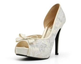 Lady Catherine, White Lace Wedding Heel with Bow. White Wedding Shoe. White Shoes. Ready Made White Heels