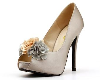 3D Flower Silver Heels. Flowery Wedding Heels. Silver Satin Wedding Heels. Silver Bridal Heels.