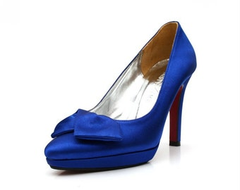 Custom Made Royal Blue Satin High  Pointy Pumps. Blue Satin Bridal Heels. Blue Wedding Shoes with Red Sole. Custom Made  Shoes with Red Sole