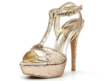 Glittering Gold Wedding Heels, Custom Made Gold Glitter Heels, Gold Glitter Bridal Heels, Gold Evening Platform Heels