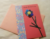 Happy Mother's Day Card Pink Card Stock Button Ribbon Flower Butterfly Pattern Paper Blank Inside