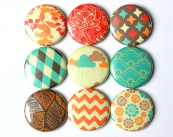 autum fall rustic color pattern fridge magnets set of nine pin badge button cab charm