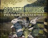 """Shop Banner Set - Premade Banner Set - Etsy Shop Banner Set - Graphic Banner Set - """"Scooter Buddies"""""""