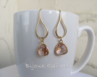 Gold Plated Teardrop Peach Champagne Sparkle  Dangle Earrings