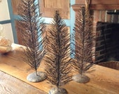 Bottle brush Trees- Set of three Table top Vintage decor Autumn  Christmas Holidays