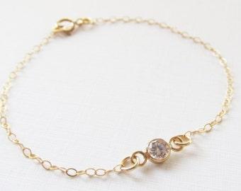 Gold CZ Bracelet 14kt Gold Filled Bracelet, Gift for Her