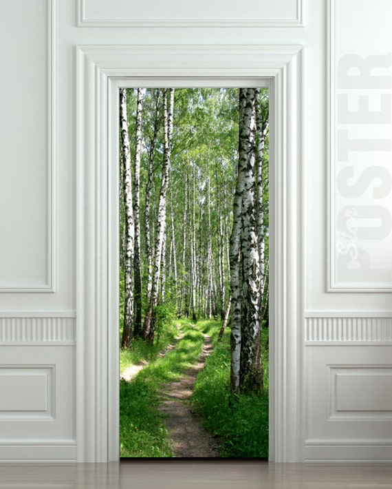 Door sticker wood tree forest birch way mural decole par wallnit - Poster decoratif mural ...