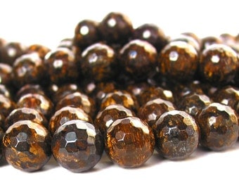 """15"""" 6mm 8mm 10mm 12mm  Bronzite FACETED round beads gemstone - excellent quality - full strand - PICK SIZE"""
