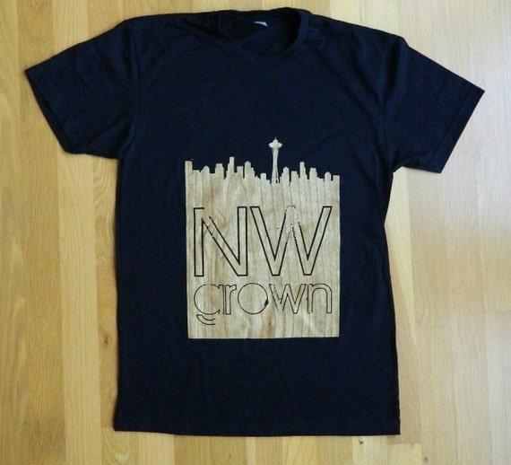 SALE Mens Northwest Grown Seattle Skyline Woodgrain Black