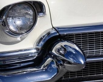 1955 Cadillac Grill, 8x12 Fine Art Print, Chrome, Bullet, Headlight