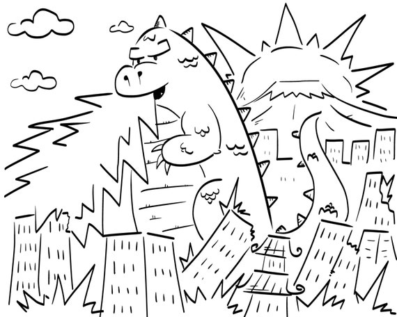 godzilla eats tokyo coloring page for boys and girls color