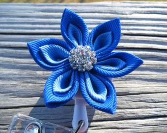 Kanzashi Retractable ID Badge Holder Royal Blue Pointed Petal Ribbon Flower ID Reel
