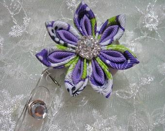 Retractable I.D. Badge Holder  Kanzashi Ribbon Flower Pointed Petals Purple Color