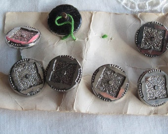 Reduced price   antique buttons, silver lustre, 11 matching